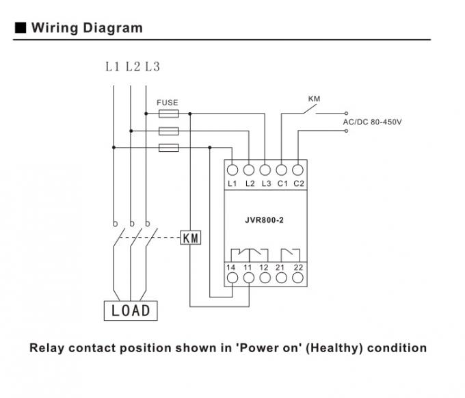 Air - Conditioner 3 Phase Relay With Timer , 460VAC Phase Loss ...  Phase Wiring Diagram Relay on